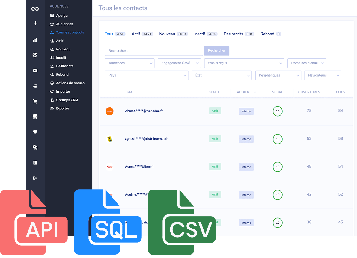sendfinite audiences manager contacts